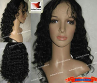 Wholesale Indian Full Lace Wig Indian Remy Human Hair Curly inch Color Jet Black Hair Wigs DHL