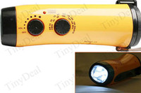 Wholesale Emergency Hand Crank Dynamo Flashlight Torch AM FM Radio with Super Bright LED Lights Strap for