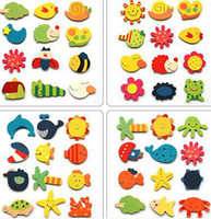 Wholesale Cute Cartoon Fridge Magnet Children Early Learning Education Toys Wooden Refrigerator Magnet