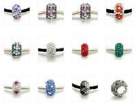 Wholesale 10pcs Mix Color Sterling Silver Rhinestone European Beads Fit Charm Bracelet Necklace DL01