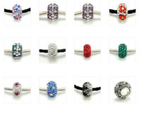 Wholesale Mix Color Sterling Silver Rhinestone European Beads For Jewelry Charm Bracelet Necklace DL01