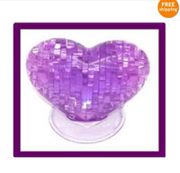 Wholesale 3D Purple Crystal puzzle Jigsaw Heart Decoration Gadge toy major and Children s Christmas gift