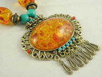 amber beeswax - Great Seller Exaggerated Women s Tibetan Beeswax Amber Pendant Necklaces Top Quality