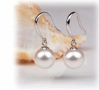 Wholesale 925 Sterling Silver gold plated Pearl Earrings drop Fashion earring Jewelry love gift for wome