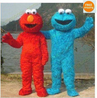 Wholesale EPE Couple Sesame Street Monster Cookie and ELMO Mascot Costume Adult Cartoon Costumes