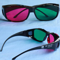 Wholesale Red magenta Green cyan Anaglyph D GLASSES plastic frame stereo glasses Spherical lens for movie