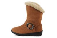 Wholesale Boots for Women Chestnut Footwear Cowskin Artificial Fur Snowboot with Height increasing Insole ZGMG