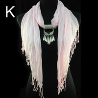Wholesale Fashion jewelry scarf necklace with drop pendant charms Light pink color tassel design scarf for women NL K