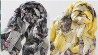 Wholesale New Arrival Silk Scarf Begonia Flowers Warm Scarves Yarn Printing Shawl Stylish Women s pc