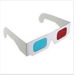 Wholesale 100pcs Red magenta Blue Anaglyph D GLASSES Paper frame stereo glasses Flat glasses for movie
