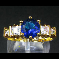 Wholesale Fashion Jewelry Gift Lady Blue Sapphire Fine Topaz Stone Yellow Gold Ring
