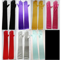 Wholesale 100pcs wedding bridal party lady stretchy satin finger Gloves Opera Length cm colors