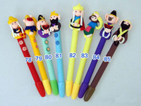 Calligraphy & Fountain Pens many color  People Polymer Clay Ball Pen Unique China Handcraft Cartoon Colorful Ballpoint Pen 100pcs Set Free