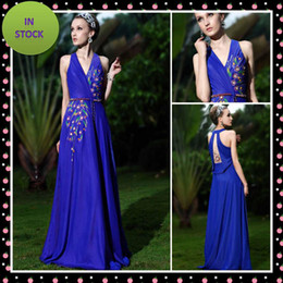 Wholesale Ready To Ship Hot Sale Online V Neck Halter Halloween Chiffon Evening Dresses Prom Celebrity Dress