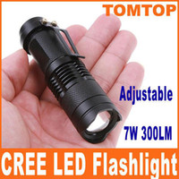 Wholesale 300LM CREE Q5 LED Camping Flashlight Torch Adjustable Focus Zoom waterproof flashlights Lamp H4846