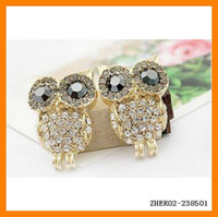 Wholesale Fashion Vintage OWL Earrings Retro Ear Pins Elegant Ladies Jewelry Rhinestone Ear Ring ZHER02