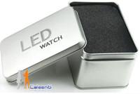 Wholesale 10pcs led watch intercrew wacth electronic watch digital watch RED BLUE LIGHT LED watches gift box