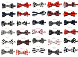 Wholesale children s bowtie baby boys kids bow tie CM mix Geometric Polka Grid Dots