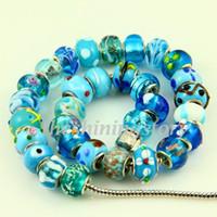 al por mayor perlas de vidrio base de plata-Granos de cristal de Murano murano estilo Chamilia estilo azul claro con plateado corazones plateados
