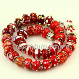 Red style murano glass beads european italian troll beads