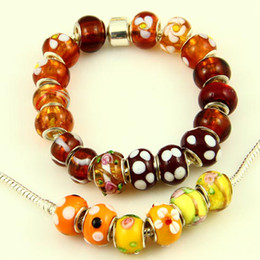 Brown style murano glass beads large hole biagi charm beads fits for charm bracelets