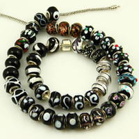 Wholesale Black style murano glass beads european italian troll beads with silver plated cores