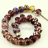 Wholesale Chamilia style murano lampwork glass beads with silver plated cores european italian