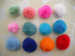 5-6cm rabbit fur ball with a metal snap button, rabbit Pom Pom balls for decoration, 50pcs lot, free shipping