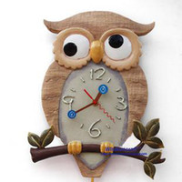 Wholesale 2016 Lovely owl wall clock wall clock fashion personality modern wall clock