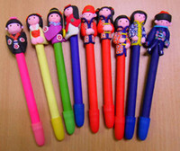 Calligraphy & Fountain Pens many color  Christmas Polymer Clay Ball Pen Unique China Handcrafted Cartoon Office Ballpoint Pen 50pcs mix Free