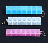 Plastic Eco Friendly Tools 10X Weekly Portable Medicine Plastic Pill Boxes Keyring Case 7 Days Organizer FREE SHIPPING