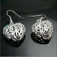 america pair - Europe and America selling silver earrings earrings small solid heart pendant Pair