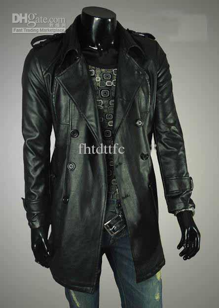 2012 New Men's Long Black Leather Jacket Double Breasted With ...