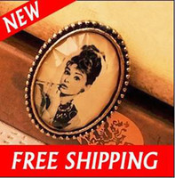 Wholesale Vintage Audrey Hepburn Photo Portrait Smoke Cameo Ring Adjustable Rings