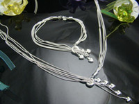 Wholesale Retail lowest price Christmas gift silver Necklace Bracelet set S070
