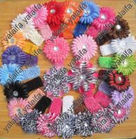 Crochet 1.5 crochet headbands - 4 quot Daisy Flower Headband Hair Bow Clip Waffle Crochet Headband For Baby Girl kugh