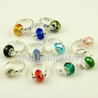 Wholesale Large Crystal Silver Rings - Elegant european charms finger rings with large hole crystal troll beads jewellery Par006 cheap china fashion jewellery