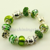 Wholesale Nice biagi european charms bracelets with big hole murano troll glass beads jewellery Pbc015