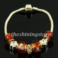 Chamilia charmes grand trou bracelets avec lampwork troll perles de verre bijoux faits à la main pas cher Chine bijoux de mode Pbc026
