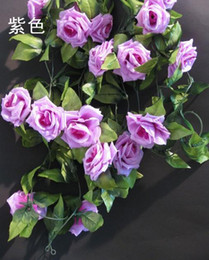Cute 2m Silk Rose Flower Rattan Fake Peony Garlands Fake Vines for wedding Christmas Party Artificial Decorative Flower Rattans