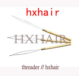 Wholesale 50pcs Wooden Handle Threader Pulling Micro Rings Loop Hair Extension Tools