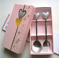 Wholesale Free Ship Sets heart shaped stainless steel spoon fork set fine tableware In Nice Box Gift