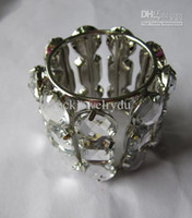 Wholesale Promotion napkin ring for wedding party zinc alloy and acrylic stones retail