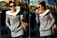 Wholesale Women s Upper Garments female Plush Hat Lapel slant Zip Fleece Hoodies amp Sweatshirts