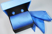 Wholesale Men Tie Cufflink Handkerchief Boxed Set Silk Striped Luxury Silk Tie Set