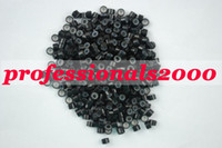 Wholesale 5 mm silicone micro ring beads links for hair extensions tools black mix color KEE09
