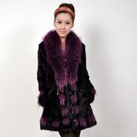 Wholesale HOt fashionLarge raccoon fur collar rabbit fur coat waist Ms Long fur coat