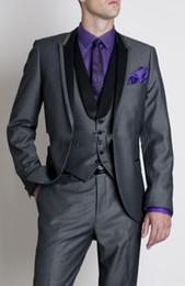 One Button Groom Tuxedos Charcoal Grey Best man Suit Peak Lapel Wedding Groomsman Men Suits Bridegroom (Jacket+Pants+Tie+Vest) F425