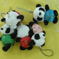 Charm many color  Plush Panda Cell Phone Straps Charms Mobile Phone Chain Lanyard Phone Jewelry Mobile Pendant 40 pcs lot Free