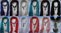 Wholesale Soft Charm Pendant Scarves Jewelry Scarves Fashion Jewelry Scarf mix design Mix Colors